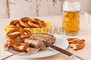 Bavarian cooked sausage and pretzel