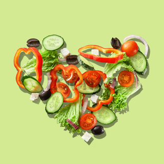 Heart from slices of vegetables