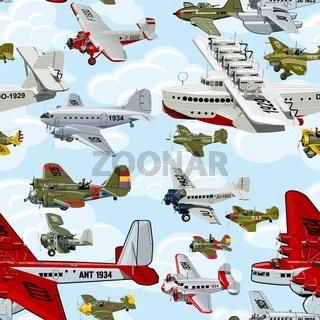 Cartoon retro airplanes 30s seamless pattern