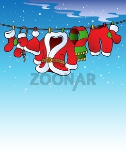 Snowy sky with Christmas costume - color illustration.