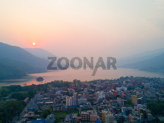 Aerial View Sunset Lakeside Phewa Lake Pokhara