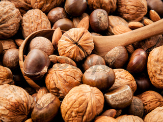 Background with different kinds of nuts walnuts kernels ,macadamia,hazelnut, and almond with wooden spoon. Selective focus depth of field.