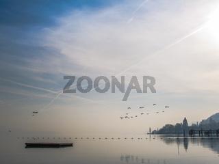 Blick auf Bodman an einen Wintermorgen - Bodensee