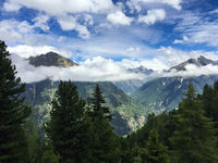Bergpanorama in Längenfeld, Ötztal, Tirol, Österreich