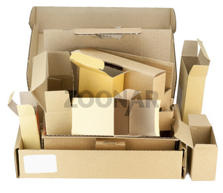 Many real small cardboard boxes
