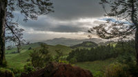 dramatic landscape view on a green valley of sao miguel, azores
