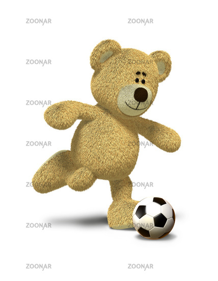 Nhi Bear kicks a soccer ball