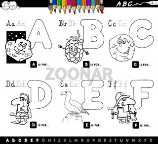 educational cartoon alphabet letters coloring book