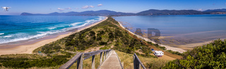 Scenic shot from the Neck lookout on Bruny Island with drone