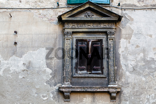Ancient Window in the Old House in Siena, Tuscany, Italy