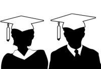 Man and woman silhouette graduates graduate in cap and gown