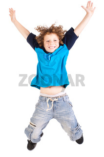 Young and attractive kid jumping high
