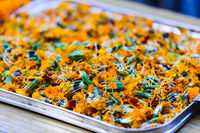 Marigolds in a tray