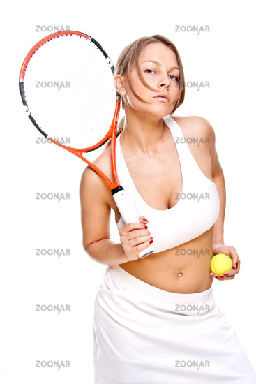 beautiful girl with tennis racket