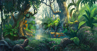fantasy forest background illustration painting