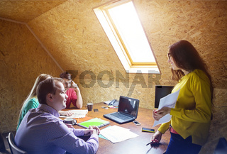 Business team at work with financial reports