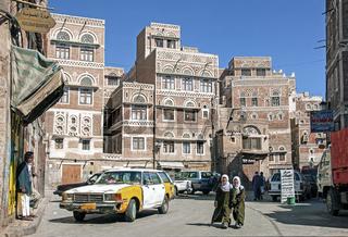 streetscene in downtown sanaa city old town in yemen