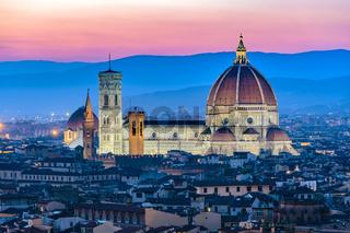 Florence city skyline at night, Italy