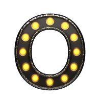 o metal letter with lights. 3D illustration