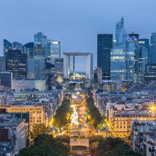 La Defence, Paris business district at dusk.