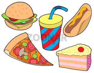 Food collection on white background - isolated illustration.