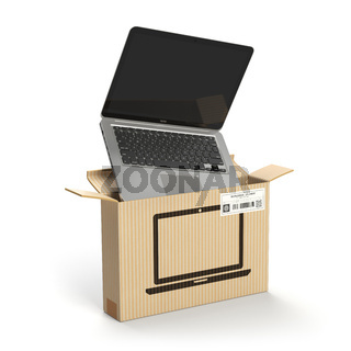 Laptop in carton cardboard box. E-commerce, internet online shopping and delivery concept.