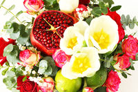 Bouquet with fruit and flowers