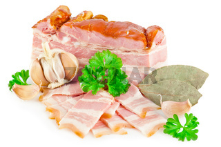 Tasty bacon with laurel, parsley and garlic