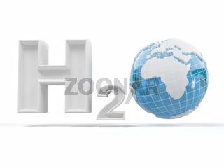 H2O. Formula of water.