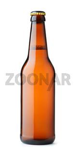 Front view of brown beer bottle