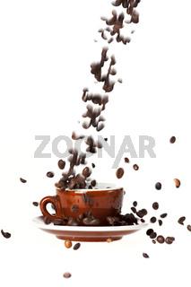 coffee bean splash isolated on white