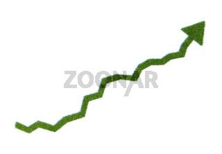 Grass growing graph - green business concept illustration