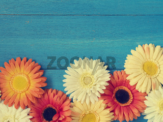 Colorful flower decoration on wood