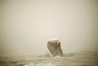 Motor Boat Launching in Ocean
