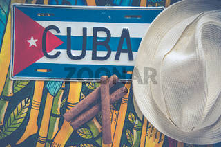 Panama hat and cigars, travel to Cuba