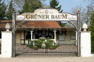 Verwaister Biergarten 'Gruener Baum' in Woerlitz (Sachsen-Anhalt)