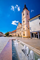 Cakovec square church and fountain view