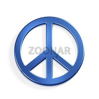 Peace Symbol.3D Blue render Illustration