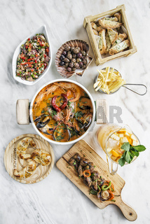 mixed seafood selection gourmet set meal on table