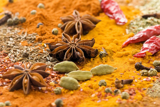 Exotically colorful spice mix with different power and grain as closeup
