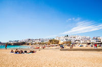 Beautiful sandy Albufeira beach on the Algarve, Portugal