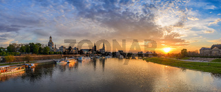 Dresden city skyline panorama at Elbe River and Augustus Bridge when sunset, Dresden, Germany