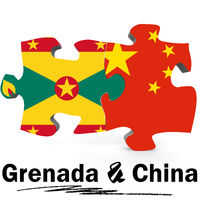 China and Grenada flags in puzzle