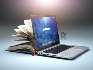 Online library or E-learning concept. Open laptop and book compilation.