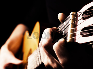 Playing flamenco guitar