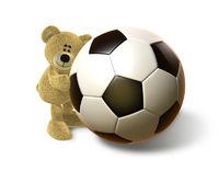 Hi Bear hugs a big Soccer Ball, front