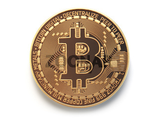 Golden bitcoin coin virtual currency isolated on white background.