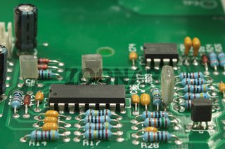 Part of an electronic circuit. View of the chip. Close-up.