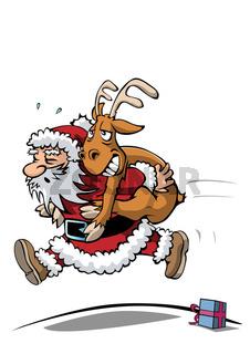 Weihnachtsmann macht den Elchtest