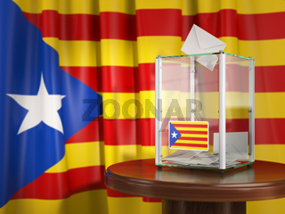 Referendum of independence of Catalonia concept. Ballot box with flag of Catalonia and voting papers.